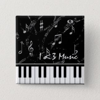 Schwarzweiss-Klavier-Musik-Knopf Quadratischer Button 5,1 Cm