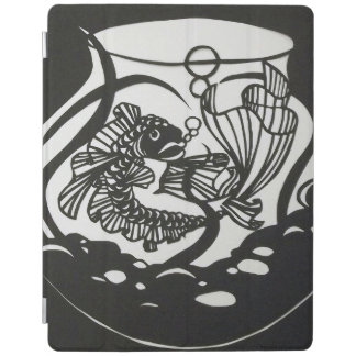 Schwarzweiss-Koi Papier-Schnitt Entwurf iPad Hülle