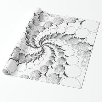 Schwarzweiss-Kreis-Fraktal-Geschenk-Verpackung Geschenkpapier