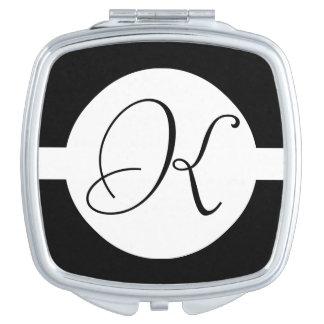 Schwarzweiss-Kreis-Monogramm Schminkspiegel