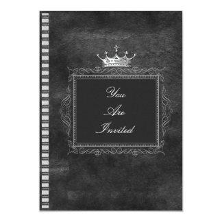 Schwarzweiss-Kronen-Hochzeits-Einladungen 12,7 X 17,8 Cm Einladungskarte