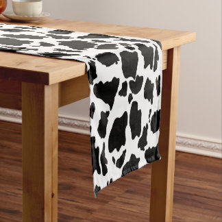 Schwarzweiss-Kuh-Haut-Tierdruck Kurzer Tischläufer