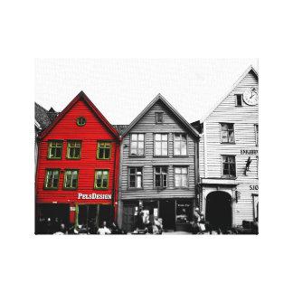 Schwarzweiss-Leinwand Bergens Norwegen Europa Leinwanddruck