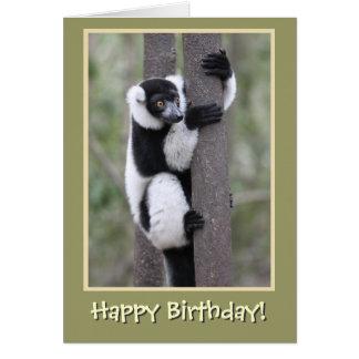 Schwarzweiss-Lemur-alles Gute zum Geburtstag Karte