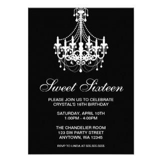 Schwarzweiss-Leuchter-16. Geburtstag-Geburtstag Individuelle Einladungskarte
