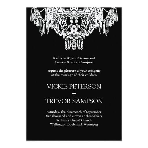 Schwarzweiss-Leuchter-Hochzeits-Einladungen