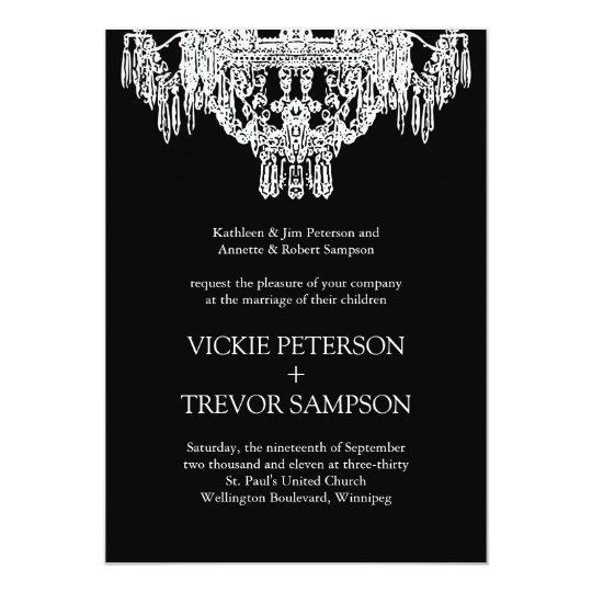 Schwarzweiss-Leuchter-Hochzeits-Einladungen 12,7 X 17,8 Cm Einladungskarte