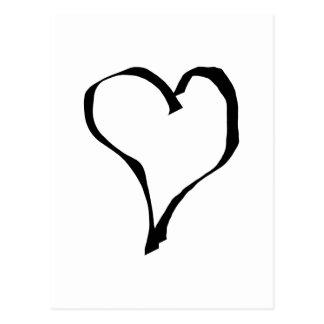 Schwarzweiss-Liebe-Herz-Entwurf Postkarten
