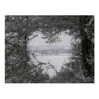 Schwarzweiss-Liebe-Schnee-Herz-Foto-Weihnachten Postkarte