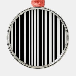 Schwarzweiss-Linien Rundes Silberfarbenes Ornament