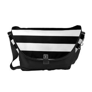 Schwarzweiss-Linien Streifen-Muster Kurier Taschen