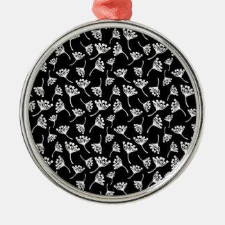 Schwarzweiss-Löwenzahnmuster Silbernes Ornament