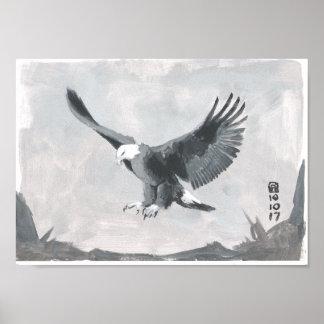 Schwarzweiss-Malerei einer Eagle-Landung Poster