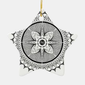 Schwarzweiss-Mandala Keramik Ornament