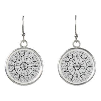 Schwarzweiss-Mandala-Ohrringe Ohrringe