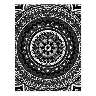 Schwarzweiss-Mandala Postkarte