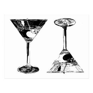 Schwarzweiss-MartinisPop Kunst Postkarten