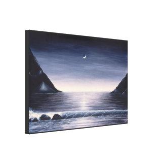 Schwarzweiss-Meerblickmalerei auf Leinwand