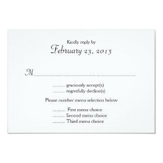 Schwarzweiss-Menü-Listen-Hochzeits-Antwort-Karte 8,9 X 12,7 Cm Einladungskarte