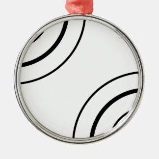 Schwarzweiss-Minimalist des Kreis-Entwurfs-| Rundes Silberfarbenes Ornament