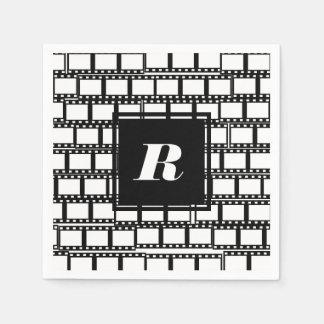 Schwarzweiss-Monogramm-Entwurf für Film-Liebhaber Papierserviette