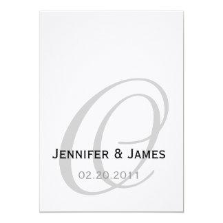 Schwarzweiss-Monogramm-Hochzeits-Einladung 12,7 X 17,8 Cm Einladungskarte