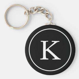 Schwarzweiss-Monogramm-Initiale des Kreis-| Schlüsselanhänger