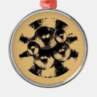 Schwarzweiss-Musik-Lautsprecher in einem Kreis Rundes Silberfarbenes Ornament