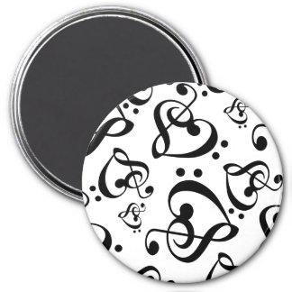Schwarzweiss-Musik-Muster-Magnet Runder Magnet 7,6 Cm