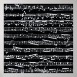 Schwarzweiss-Musiknoten Poster