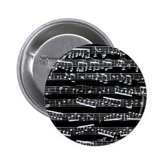 Schwarzweiss-Musiknoten Runder Button 5,7 Cm