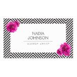 Schwarzweiss-Muster mit rosa Blumen-Schönheit Visitenkartenvorlagen