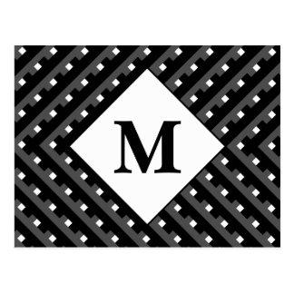 Schwarzweiss-Muster Monogramm Postkarte