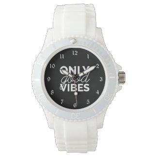 Schwarzweiss-nur gute Schwingungen Armbanduhr