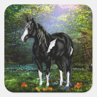 Schwarzweiss-Overo Farben-Pferd Quadratischer Aufkleber