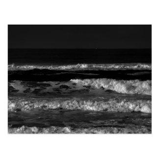 Schwarzweiss-Ozean-Wellen-Postkarte Postkarte