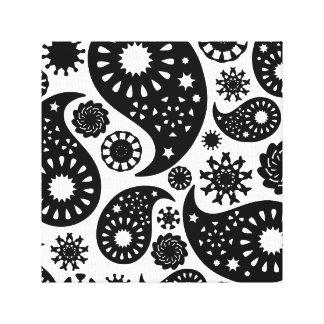 Schwarzweiss-Paisley-Muster Gespannte Galeriedrucke
