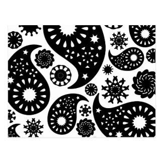 Schwarzweiss-Paisley-Muster Postkarte