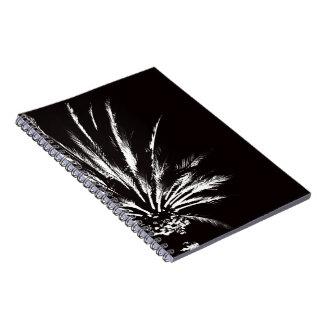 Schwarzweiss-Palme Spiral Notizblock