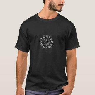 Schwarzweiss-pawprint Kreis T-Shirt