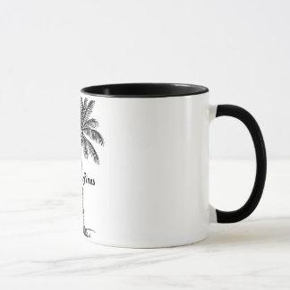 Schwarzweiss-Pembroke-Kiefern- u. Palmenentwurf Tasse