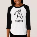 Schwarzweiss-Pferdeliebhaber-T-Stück T-Shirt
