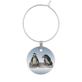 Schwarzweiss-Pinguin-Vogel-Wein-Charme Glasmarker