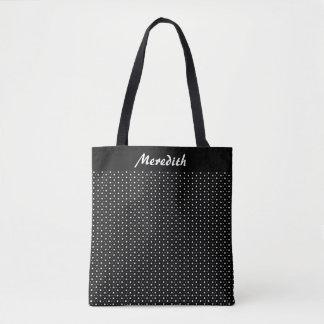 Schwarzweiss-Polka-Punkt-personalisierte Tasche