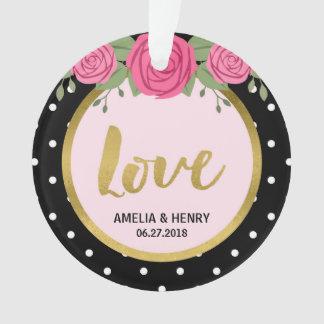 Schwarzweiss-Polka-Punkt-Rosen, die Liebe Wedding Ornament