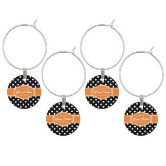 Schwarzweiss-Polka-Punkte orange personalisiertes Weinglas Anhänger