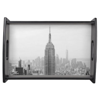 Schwarzweiss-Reich-Staats-Gebäude Manhattan Tablett