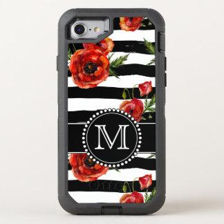 Schwarzweiss--, rote Mohnblumen, mit Blumen, mit OtterBox Defender iPhone 7 Hülle