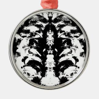 Schwarzweiss Rundes Silberfarbenes Ornament