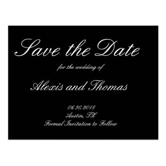 Schwarzweiss-Save the Date Wedding Postkarte